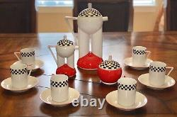 Czech Republic Thun Duo Vintage Tea Coffee Set Porcelain Red Black White