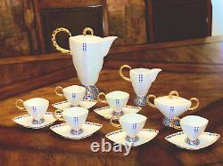 Czech Republic Thun Excalibur Vintage Tea Coffee Set Porcelain Gold White Blue