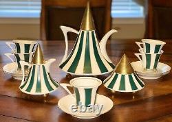 Czech Republic Thun Obelisk Vintage Tea Coffee Set Porcelain Green White Gold