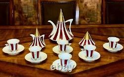 Czech Republic Thun Obelisk Vintage Tea Coffee Set Porcelain Red White Gold