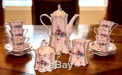 Czech Republic Thun Olga Vintage Tea Coffee Set Pink Porcelain Gold Pink
