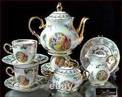 Czech porcelain tea set Madonna 200ml/1250ml, 15 pc New