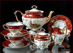 Czech porcelain tea set Royal Hunt Red 15pc New