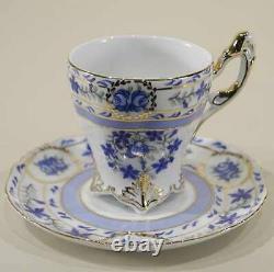 Demitasse Tea Set, 17 Pc. Blue & White withGold, Victorian Style