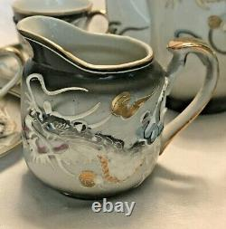 Dragon Ware TEA SET Japan Hand Painted Moriage & Gold Trim IRIDESCENT PORCELAIN