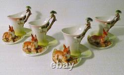 Drant Hand Painted Porcelain 13-Piece Figural Deer Tea Set Mint and Complete