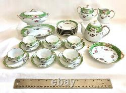 Early 20th c. Hand Painted Noritake Porcelain Child's Toy Tea Set 27 Pieces