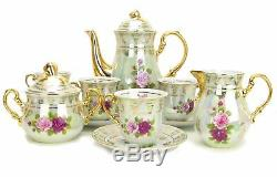 Euro Porcelain 17-pc Coffee/Tea Set for 6, Luxury Dinnerware Service with 24K Gold