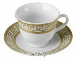Euro Porcelain 17-pc Tea Cup Coffee Set, 24K Gold Greek Key Service for 6