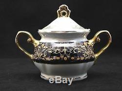 Euro Porcelain 17-pc Tea Set for 6 Flower Pattern Dark Cobalt Blue 24K Gold