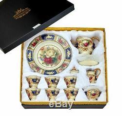 Euro Porcelain 24pc Roses Tea Cup Set Antique Blue 24K Gold Vintage Dining for 6