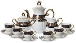 Euro Porcelain 29-pc Dark Cobalt Blue Tea Cup Coffee Set 24K Gold Service for 12