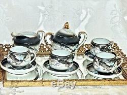 Exceptional Hand Painted Kutani Moriage Dragon Porcelain Tea Set Lithophane Face