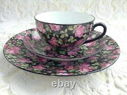 F&w Czechoslovakia Vintage Black Floral Chintz Tea Set 19 Pcs