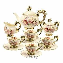 Fanquare 15 Pieces British Porcelain Tea Sets, Flower Vintage China Coffee Set