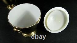 French Antique Gilt LIMOGES Porcelain Empire Style Tea Pot Creamer Sugar Set