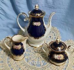 GDR Reichenbach Germany Echt Kobalt Demitasse Tea Set 6 Settings 1949-1990