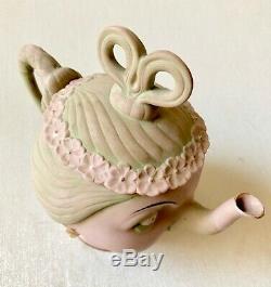 German Shafer Vater Alice in Wonderland Suffragette Bisque Porcelain Tea Set