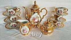 Gold Set Teapot Tea Cups Saucers(6) Plate Porcelain Bavaria Vtg Creamer/Sugar