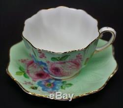 Green Paragon Porcelain Pink Roses Tea Cup and Saucer Set RARE