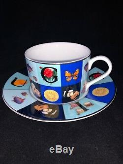 Gucci Porcelain Set Of 4 Tea Cups & Saucers In Guccissimo Pattern Richard Ginori