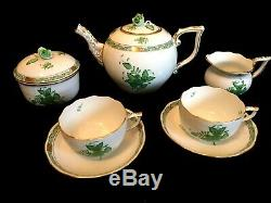 HEREND PORCELAIN HANDPAINTED CHINESE BOUQUET GREEN TEA SET FOR 2 PERSON (9 pcs.)