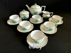 HEREND PORCELAIN HANDPAINTED CHINESE BOUQUET GREEN TEA SET FOR 6 PERSON (17pcs.)