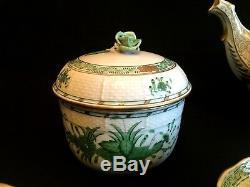 HEREND PORCELAIN HANDPAINTED INDIAN BASKET GREEN TEA SET FOR 6 PERSONS(17. Pcs.)