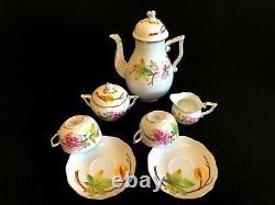 HEREND PORCELAIN HANDPAINTED MARRON TEA SET FOR 2 PERSONS (9pcs.) NEW
