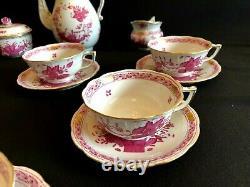 HEREND PORCELAIN INDIAN BASKET RASPBERRY TEA SET FOR 6 PERSONS (17pcs.)