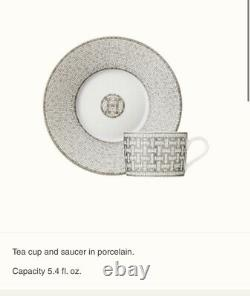 HERMES Porcelain Tea Cup Saucer Mosaique Au 24 Platinum Tableware set Gift