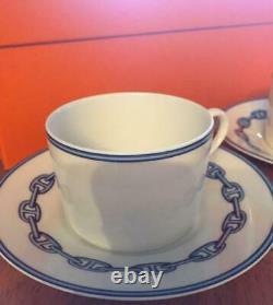 HERMES Tea Cup Saucer Chaine d'ancre Blue Tableware set Porcelain Ornament New