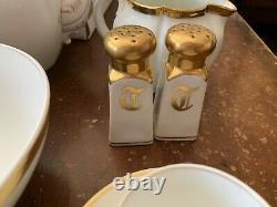 Haviland & Co Limoges France Porcelain Gold Rim Tea/ Serving 61 Piece Set
