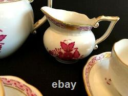 Herend Porcelain Handpainted Chinese Bouquet Raspberry Tea Set For 6 Person