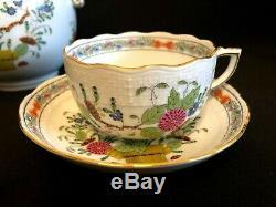 Herend Porcelain Handpainted Indian Basket Multicolor Tea Set For 2 Persons