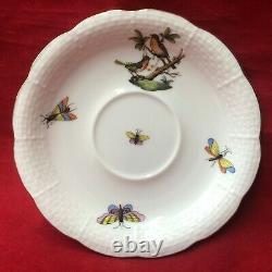 Herend Porcelain Set of 6 Rothschild Bird Tea Saucer 6 Plates #734 Butterflies