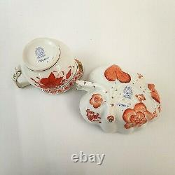 Herend Porcelain Tea Set for Two Chinese Bouquet Apponyi Rust Orange Gold AOG
