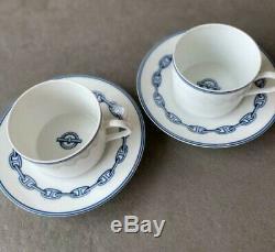 Hermes Paris Chaine d'Ancre Porcelain 2 Set Tea Coffee Cups & Saucer Tableware