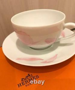 Hermes Porcelain Pivoines Tea Cup Saucer Tableware set Pink Petal Ornament New