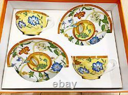 Hermes Siesta Tea Cup Saucer Tableware Yellow Floral 2 set Porcelain Coffee New