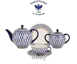 Imperial Porcelain'Cobalt Net Tulip' Tea Set 20 pc. For 6 persons, Gold, Russia