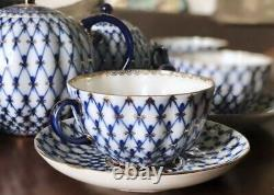 Imperial porcelain tea set for 6 persons. Cobalt net. Gold. Lomonosov