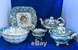 JACOB PETIT ANTIQUE Soft Paste Porcelain 5 PC TEA SET CIRCA 1840 France