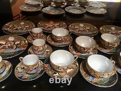 Japan Satsuma Moriage Tea and Coffee Set 26pc Eggshell Porcelain & Real Gold