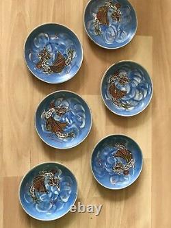 Japanese Kutani 21 piece dragon ware geisha girl lithophane eggshell tea set