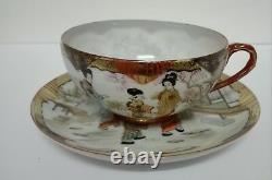Japanese Kutani Egg Shell Porcelain Tea Set