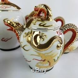 Japanese Satsuma Moriage Immortals Dragon Porcelain Tea Set Lithopane Geisha