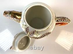 Japanese Satsuma Moriage Immortals Dragon Porcelain Tea Set Lithophane Geishas