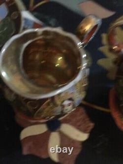 Japanese Satsuma Tea Set Samurai China Gold Lined Eggshell Porcelain Oriental