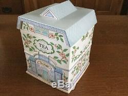 LENOX SPICE VILLAGE 4 pc Canister Set Flour Sugar Coffee Tea Vintage Porcelain